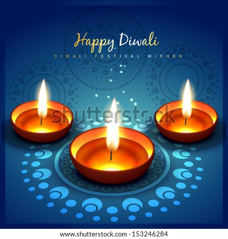 beautiful shiny diwali festival greeting - stock vector