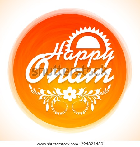 Beautiful shiny frame decorated with floral design and stylish text Happy Onam for South Indian festival celebration.