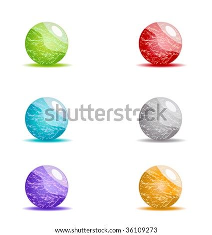Beautiful shiny orbs with marble texture. Vector.