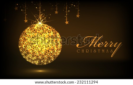 Beautiful shiny X-mas ball with hanging stars on brown background for Merry Christmas celebrations. - stock vector