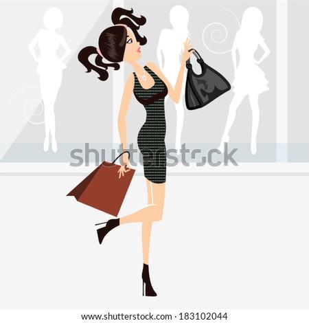 Beautiful shopping girl / Shopping girl - stock vector