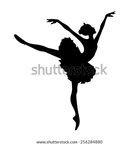 Beautiful silhouette ballerina on a white background,sketch,vector. - stock vector