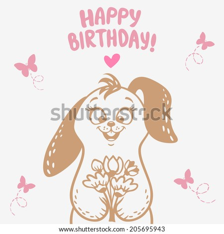 beautiful silhouette cute and funny cartoon bunny with a bouquet of flowers