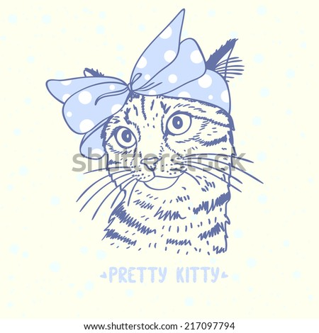 Beautiful silhouette hand drawn cute kitty with a bow on head - stock vector