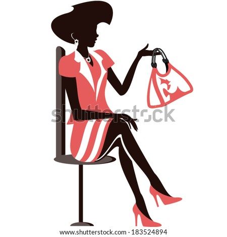 Beautiful silhouette in a red dress - stock vector