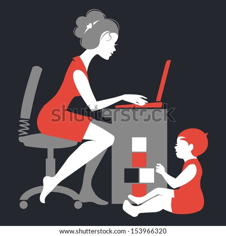Beautiful silhouette of mother �¢?? freelancer with notebook and baby playing with toys - stock vector
