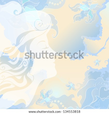 Beautiful silhouette of the girl's head, exquisite flowers. Girl enjoying the fragrance of flowers. Soft pastel blue and beige marble tones. For background, textiles, cards, wrapping - stock vector