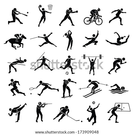 beautiful silhouette sport icon set in white background, vector set - stock vector