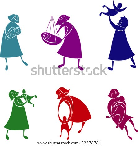 Beautiful silhouettes concepts of mother and child. The color and white part are grouped separately.  The figures for each color are grouped separately. Color is easy to change - stock vector