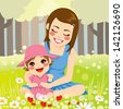 Beautiful single mother enjoying nature with her adorable little daughter on the park - stock vector