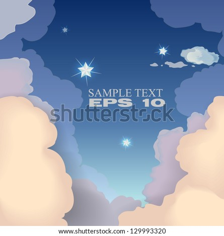Beautiful sky with clouds. Vector EPS 10 - stock vector