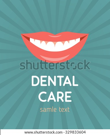 Beautiful smiling mouth with healthy teeth. Design concept - stock vector