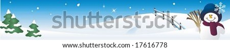 Beautiful Snowy Landscape Banner with a cute white snowman on background with shiny night blue sky and peaceful snow scene : vector illustration
