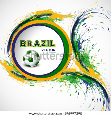 Beautiful Soccer background with Brazil colors grunge stylish wave splash. illustration vector - stock vector