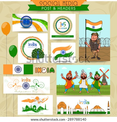 Beautiful social media post, header or banner set for Indian Independence Day celebration. - stock vector