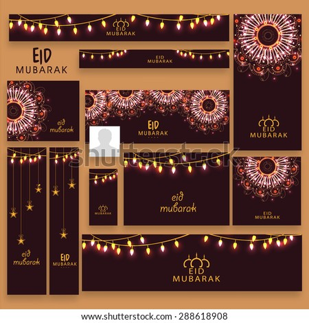 Beautiful social media post, header or banner set with decorated with lights, hanging stars and glowing floral design for Muslim community festival, Eid Mubaral celebration. - stock vector