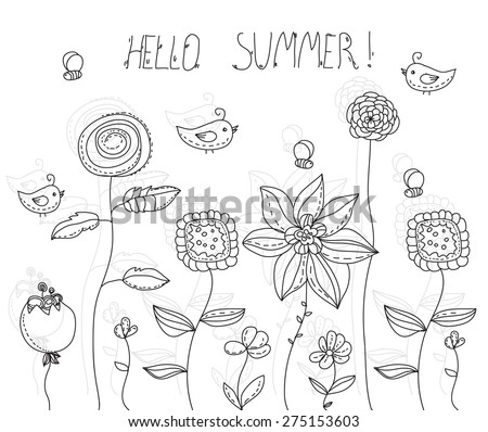 beautiful solid background with decorative flowers and birds bees, illustration with lettering Hello summer