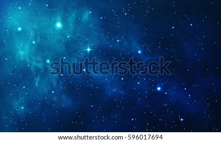 Beautiful space with blue nebula, realistic vector - EPS 10