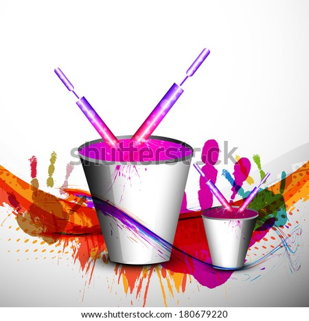 Beautiful spalsh with bucket full of colors and pichkari in festival holi background illustration
