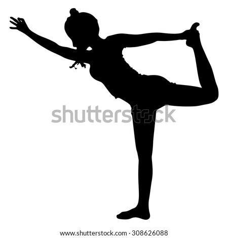 Beautiful sporty girl practices yoga, performing Natarajasana, Lord of the Dance pose, balance workout, full body stretch