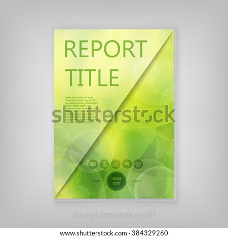 Beautiful spring abstract green natural light Report cover template with low poly background. Business brochure document layout for company presentations.  - stock vector