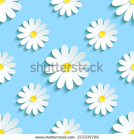 Beautiful spring background seamless pattern blue with white 3d flower chamomile. Floral trendy creative wallpaper. Vector illustration - stock vector