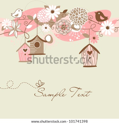Beautiful Spring background with bird houses, birds and flowers - stock vector
