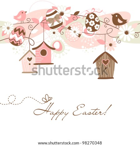 Beautiful Spring background with bird houses, birds, eggs and flowers - stock vector