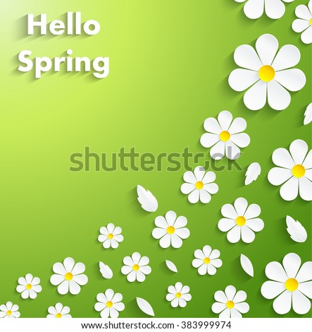 Beautiful Spring Flowers green Background.Vector - stock vector
