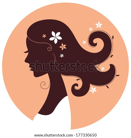 Beautiful spring girl silhouette in circle  - stock vector