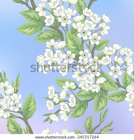 Beautiful spring pattern with  branches sakura. - stock vector