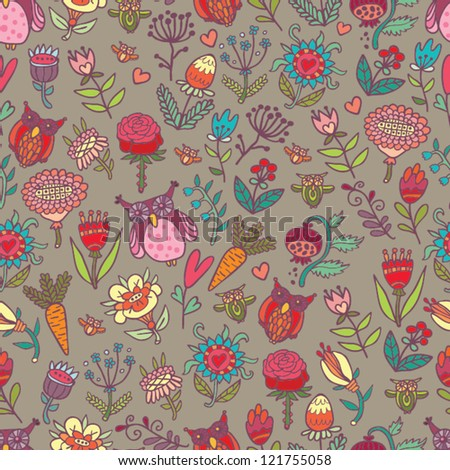 beautiful spring pattern with flowers and owls
