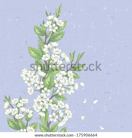 Beautiful   spring pattern with green branches and flowers. - stock vector