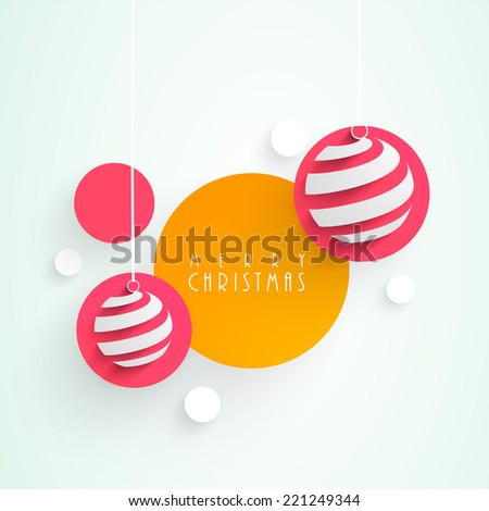 Beautiful sticker, tag or labels with christmas balls for Merry Christmas celebrations.  - stock vector
