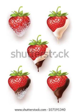 beautiful strawberries in chocolate and sugar with coconut. a lot of options. vector realistic illustration - stock vector