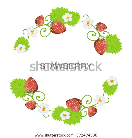 Beautiful Strawberry Background Round Frame Wreath Stock Vector ...