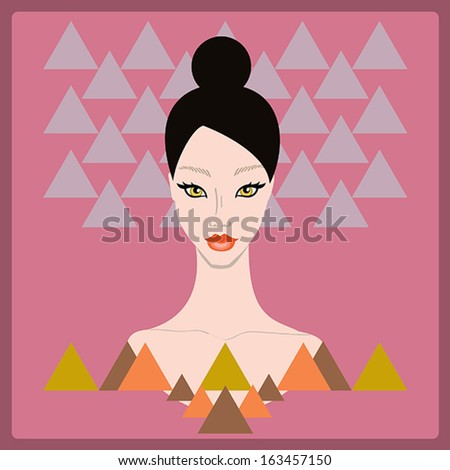 Beautiful stylish young woman face on dark pink background with triangle geometric shapes. Style of 80s. Disco trend.Fashion model hand drawn design element,banner,poster.Vector Illustration - stock vector