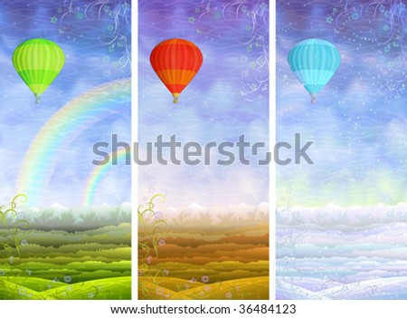 Beautiful summer, autumn and winter rolling landscapes with colorful hot air balloons flying above