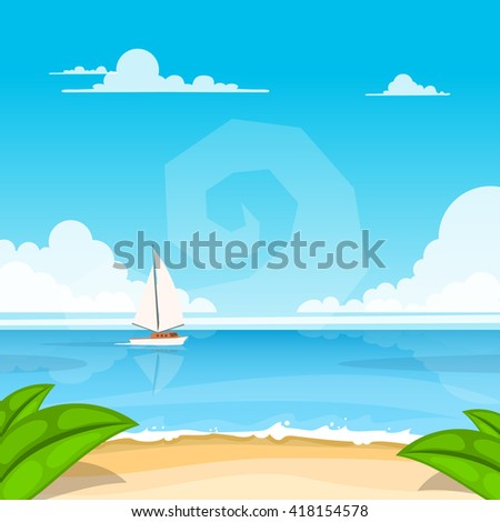 Beautiful summer background with boat in the sea. Vector illustration - stock vector