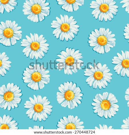 Beautiful summer background with daisies flowers. Floral seamless pattern. Vector illustration. - stock vector