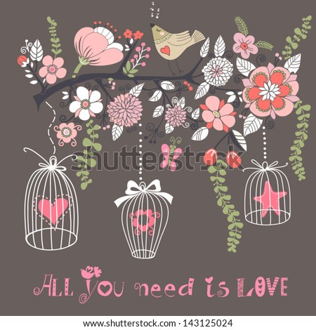 Beautiful summer background with the blossom branch, bird cages and cute bird. Bright illustration, can be used as invitation card for wedding, birthday and other holiday and cute summer background. - stock vector