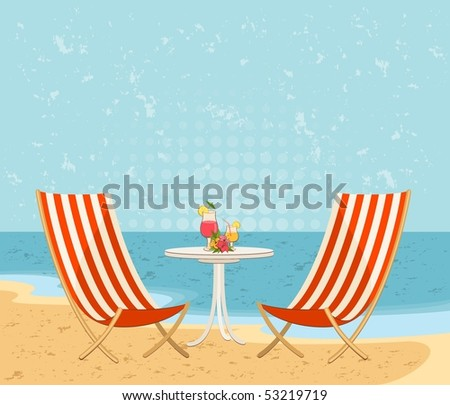 Beautiful summer beach. Vector illustration in retro style