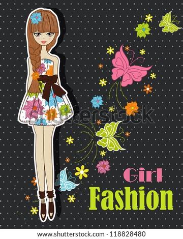 Beautiful summer, fashionable girl - stock vector