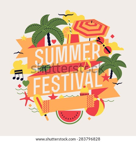 Beautiful summer festival design element with palms, beach items, music notes and more. Ideal for seasonal event poster, web banner or invitation - stock vector