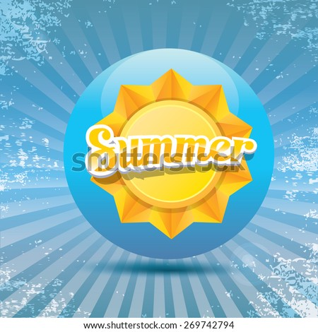beautiful summer illustrations . vector summer label on grunge background. summer icon with sun. vintage summer poster template  - stock vector