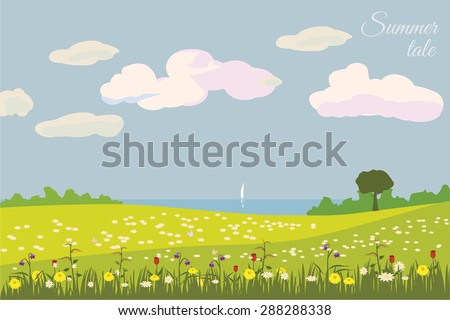 Beautiful summer landscape, sea, hills, clouds, flowers, vector, banner, illustration