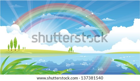 beautiful summer landscape with river and rainbow - stock vector