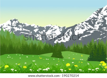 Beautiful summer landscape with snow capped mountains, trees and meadow flowers