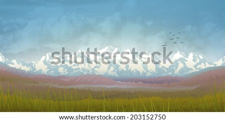 Beautiful summer mountain scenery with clouds and grass  - stock vector