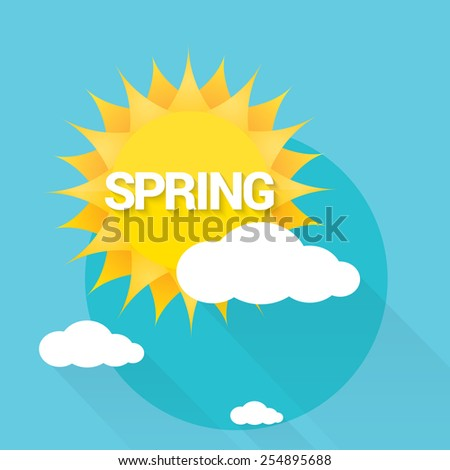 beautiful summer or spring illustrations . vector summer label. summer icon with sun and clouds. - stock vector